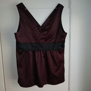 Burgundy and black top size 14